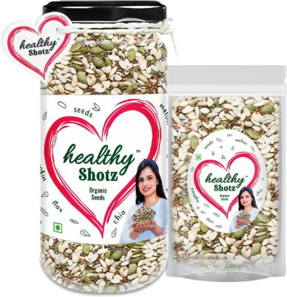 HEALTHY SHOTZ Organic Seeds | 4+ Organic and Crunchy Sunflower, Melon Seeds Help to Weight Loss and Promotes Bone Health | Glass Bottle & Small (Refill)
