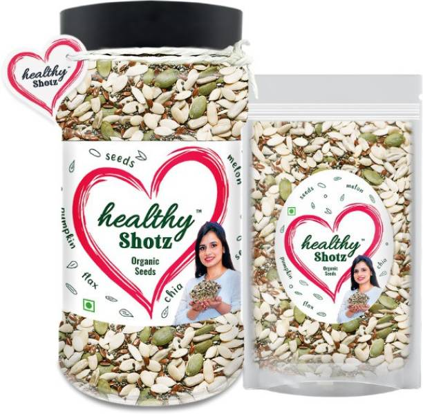 HEALTHY SHOTZ Organic Seeds | 4+ Organic and Crunchy Sunflower, Melon Seeds Help to Weight Loss and Promotes Bone Health | Pet Bottle & Large (Refill)