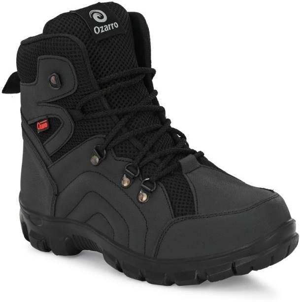 Ozarro Black Genuine Leather Steel Toe Safety Shoe (S4422) Steel Toe Genuine Leather Safety Shoe