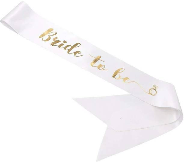 PartyPort Bride to be White and Gold Satin Sash for Engagement, Pre Wedding and wedding Celebrations