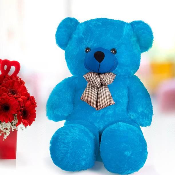 stuffed toy 3 Feet Cute Blue Fur & Heart Teddy Bear  - 92 cm