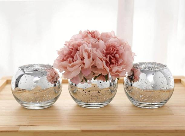 TIED RIBBONS Decorative Set of 3 Round Glass Terrarium Bowl Flower vases for Home décor Crystal Vase