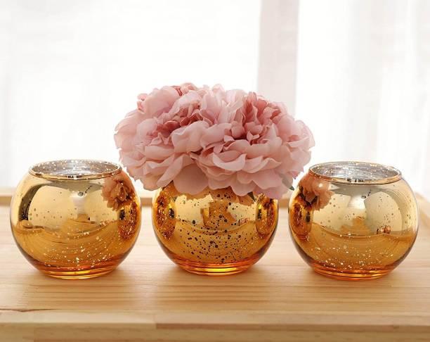 TIED RIBBONS Decorative Set Of 3 Terrarium Bowl Flower vases for Home décor Glass Vase