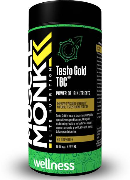 MuscleMonk Testo Gold TGC   Power Of 18 Nutrients   1000mg - 60 Capsules