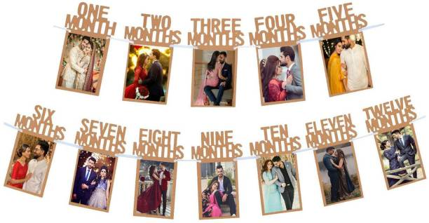 SOI 12 Months Photo Banner for First Anniversary / Birthday / Monthly Banner (12 Months) Banner / Monthly Milestone Photograph Bunting Garland Banner