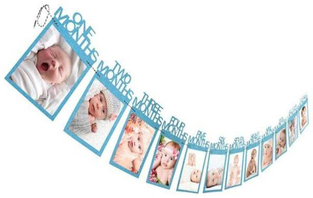 SOI Blue 12 Months Photo Banner for First Year Birthday / Monthly Banner (12 Months) Banner / Monthly Milestone Photograph Bunting Garland for Boys Banner