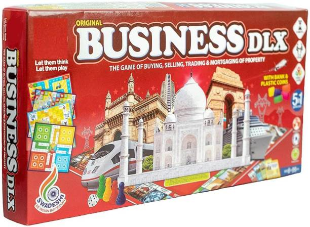 ARNIYAVALA Fun Filled Business 5 in 1 Deluxe Game with Plastic Money Coins for Young Businessmen to Learn Trading and Other Systems of Buying and Selling Money & Assets Games Board Game