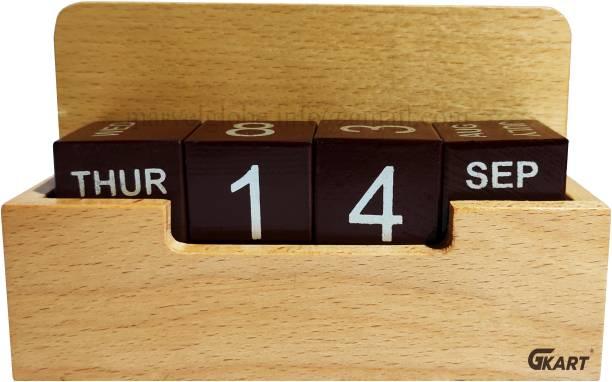 Gkart 4 Compartments Natural Wooden Calendar, Pen Holder, Mobile or Visiting Card Holder