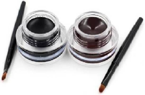 vehlan 2 in 1 Black & Brown Water Proof & Smudge Proof 24hrs Gel Eyeliner (Black, Brown, 6 g) 6 g
