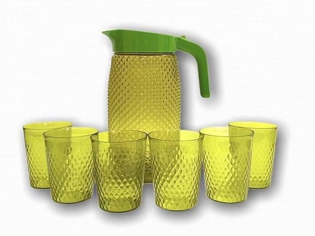 waano -2 liter water jug-set of 6 glasses-green color-pack of 7 Jug Glass Set