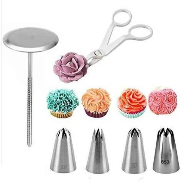 Bulky Buzz;Best of Baking Bulky Buzz Cake Flower Nail Lifters with Nozzle Set 4 Large Size Rose Flower Cake Decorating Icing Tip (2D 1M 2F 853) and 1 Cake Scissor for Cream Flower Transfer(Multicolor) Stainless Steel Quick Flower Icing Nozzle