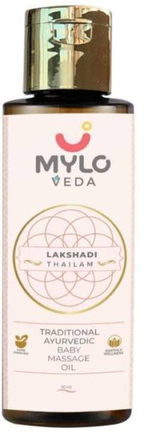 MYLO VEDA Lakshadi Thailam - Ayurvedic Baby Massage Oil with Cow Ghee for immunity and a healthy complexion