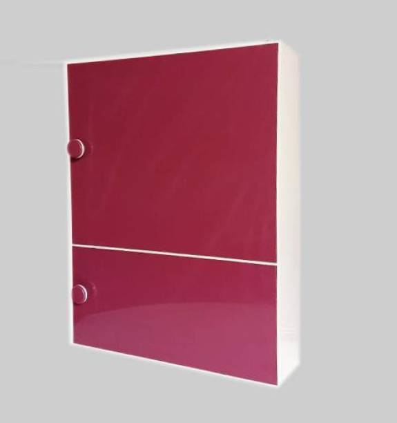 WINACO Aarti 3 MM Thickness Off White Burgundy Bathroom / Kitchen / Toilet / Multi Storage Cabinet Fully Recessed Medicine Cabinet