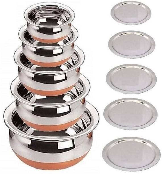 RBGIIT Pack of 10 Stainless Steel Stainless Steel Copper Bottom Cooking & Serving Biryani/Punjabi/ Pot /Handis mirror finish design Handi Copper Vegetable Bowl ,Cooking Dinner Table Serving Biryani Pot Handi Kadhai , Panikarilikka Steel Handi Perfect Copper Handi Set for Everyday Use Whether you want to cook a delicious serving of your favourite sabzi or heat leftover curries from the previous day Stainless Steel Copper Bottom Cooking Serving Pot Biryani Handi serving Handi/tableware/storage containers/bakeware/ dinner set/ kitchen set steel item for home appliances and kitchen serving cooking combo set with lid/cover/dhakkan/ storage container copper handi /URLI set fruit and salad bowl Cookware set Cookware/ Container/pot pan/patila/bhagona/Serving bowl/biryani cook & serve Set Dinner Set