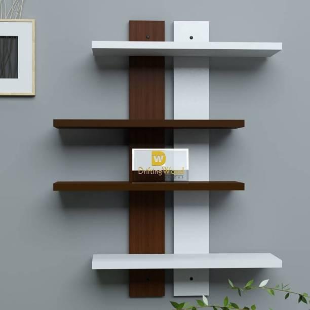 OnlineCraft ch790 4 shelf double patti ( brown , white) Wooden Wall Shelf