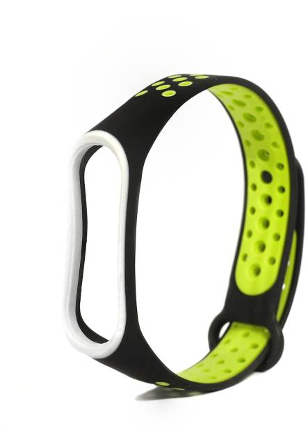 Jape Silicone Adjustable Xiaomi Mi 3/ Mi 4 Band Watch Strap Bracelet (Not Compatible with Mi Band 1/2,) Black-Green Smart Band Strap