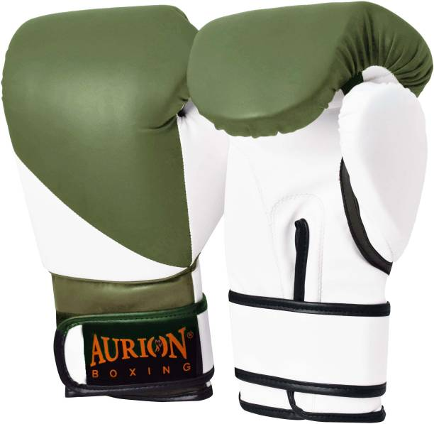 Aurion Pro Style 12 Oz Training Boxing Gloves (OLIVE GREEN-WHITE, 12 oz) Boxing Gloves
