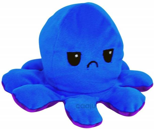 Magically Yours Reversible Octopus Toy, Dual Sided & Multi- Coloured Stuffed Toy, Super Soft Plushie, Mini Plush for Your Two Moods, Suitable for Kids (Blue & Purple)  - 10 cm