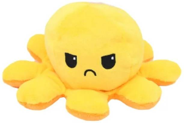 Magically Yours Reversible Octopus Toy, Dual Sided & Multi- Coloured Stuffed Toy, Super Soft Plushie, Mini Plush for Your Two Moods, Suitable for Kids (Pink & Yellow)  - 10 cm