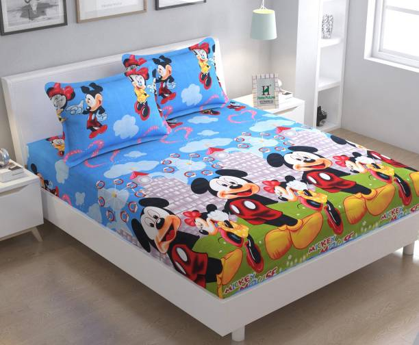 Home Pictures 120 TC Microfiber Double 3D Printed Bedsheet