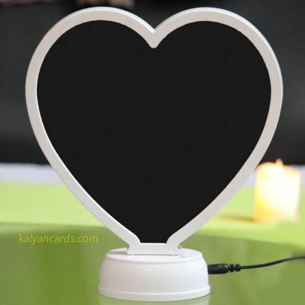 avenew Mirror Cum Photo Frame with Led Light Heart Shape/Magic Mirror Photo Frame/Magic Mirror LED Photo Frame/Heart Shape Mirror/Mirror(Heart Shape)