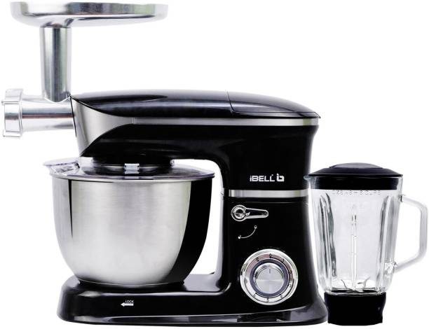 iBELL 6650S 1300Watts Multi-Function Electric Food Stand Mixer/Juicer/Meat Grinder Tilt Head 6.5 Litres SS Bowl with Whipping|Kneading/Blending|Mincing|Egg Beating|Juice Making,6 Speed Control,Black 1300 W Stand Mixer