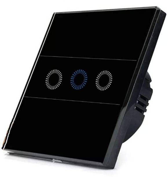 PROTIUM WiFi Touch Crystal Glass Panel 3 Gang Colour with Flower Button, Compatible with All Switch (Black)