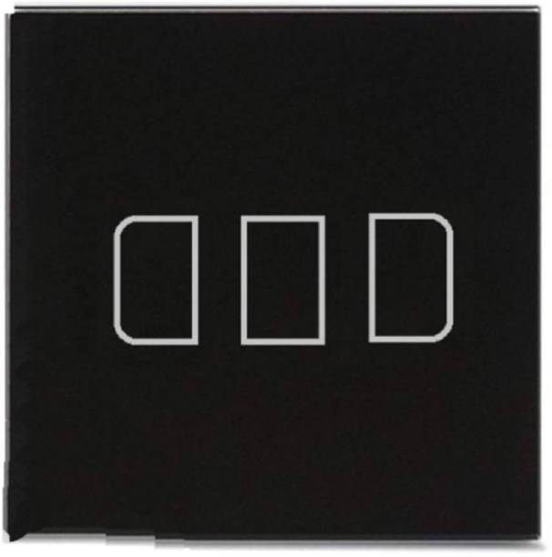 PROTIUM WiFi Touch Switch Crystal Glass Panel 3 Gang Rectangle Button for All Brand (Black)