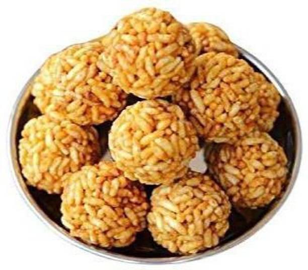 NATURE'S EARTH Home Made Murmura laddu / Parmal Gud Ke laddu / Sweet Pori Urundai/ Rice Puff Laddu Colorfull laddu (Pack of 300 Gram) Pouch