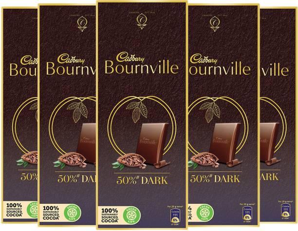 Cadbury Bournville 50% Cocoa Dark Chocolate Bar 80 g (Pack of 5) Bars