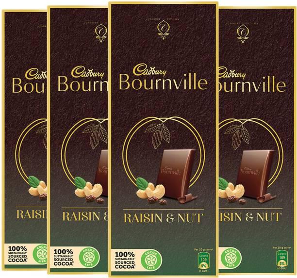 Cadbury Bournville Dark Chocolate Bar with Raisin & Nuts 80 g (Pack of 4) Bars