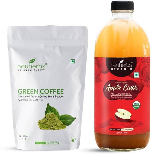 Neuherbs Green coffee bean powder-200g and Organic apple cider vinegar combo- 500 ML for weight management, good digestion, healthy skin and body detoxification Combo