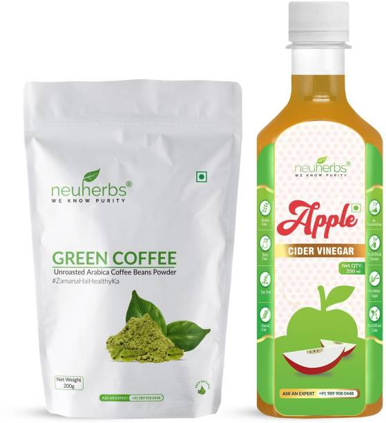 Neuherbs Green coffee bean powder-200g and Apple cider vinegar Filter-350 ml for Weight Management, Better Digestion & Boosted Immunity Combo