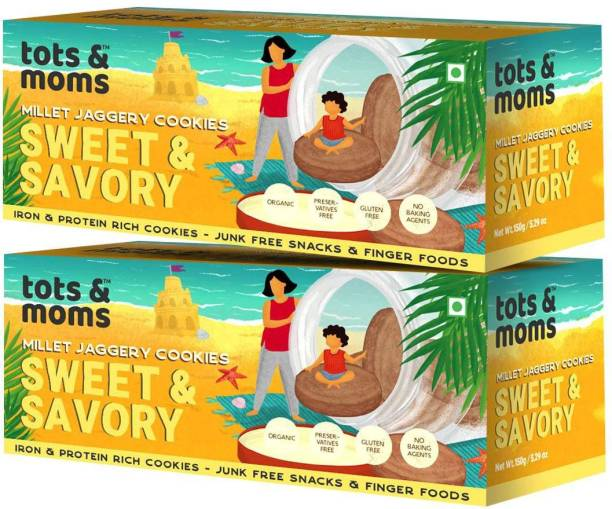 TOTS AND MOMS Healthy & Nutritional Millet & Jaggery Cookies|Sweet & Savory Multi Grain
