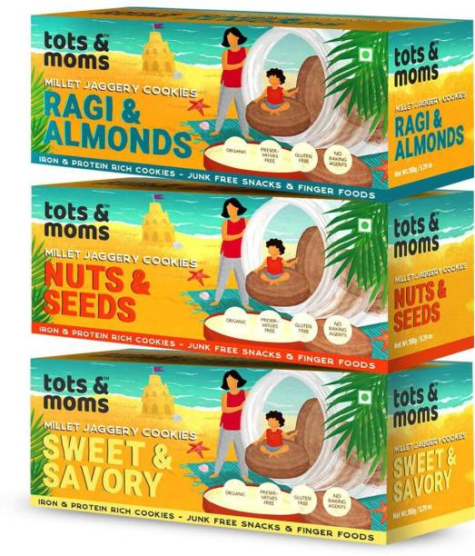 TOTS AND MOMS Healthy & Nutritional Millet & Jaggery Cookies pack of 3| Ragi & Almonds | Nuts & Seeds| Sweet & Savory|150 gm each Multi Grain