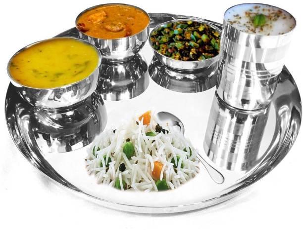Omkar Enterprises Pack of 6 Stainless Steel Stainless Steel Thali Set   Dinner Plates Thali Set   Dinner Thali Dinner Set