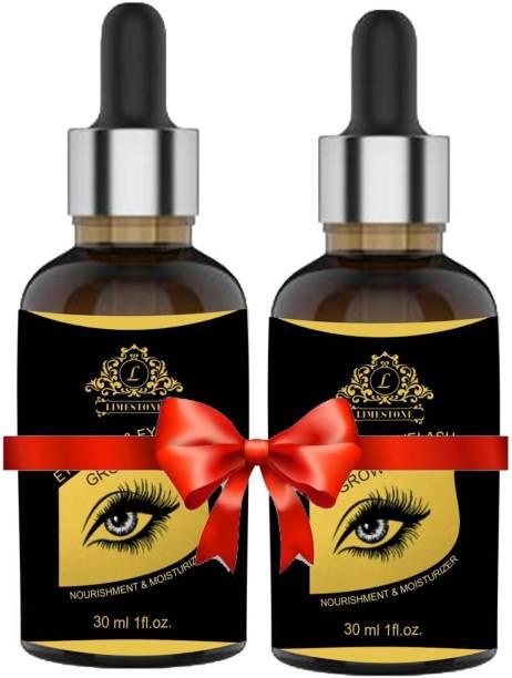 LimeStone Eyebrow & Eyelash Growth Enhancing Oil - For Strong And Dense Eyebrow & Eyelash Growth Oil - Pack Of 2 - 30ml Each 60 ml