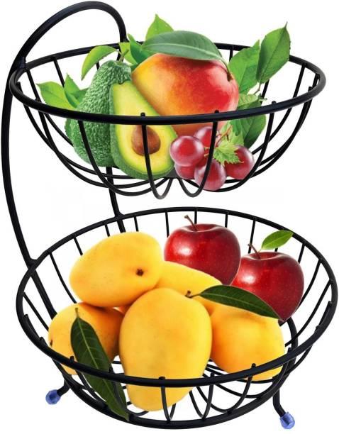 SMART SLIDE 2 Tier Steel Premium Fruit and Vegetable Basket for Kitchen - Fruit Basket for Dining Table - Vegetable Storage Basket – Fruit Bowl - Vegetable Stand for Home – Countertop Fruit Rack Steel Fruit & Vegetable Basket