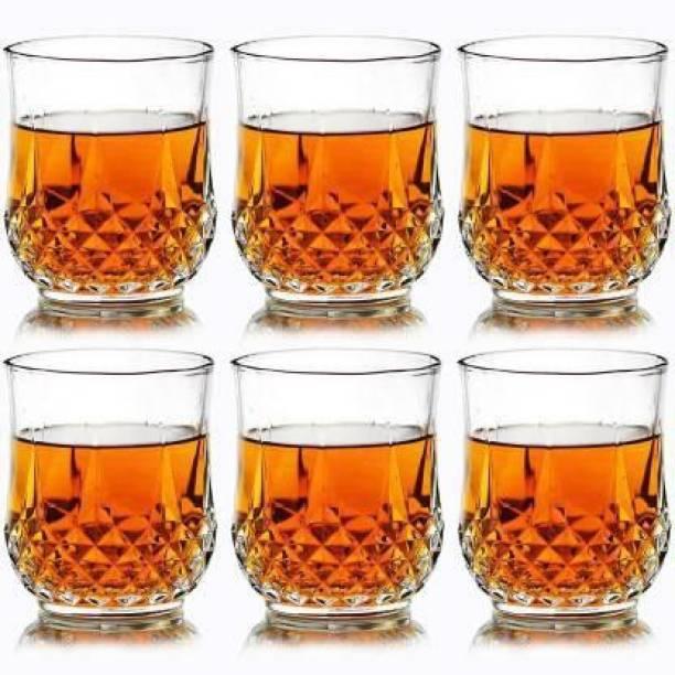 HUMBLE KART (Pack of 6) Plastic Multi Purpose Unbreakable Drinking Glass Crystal Cut Diamond Imported Whiskey Glasses,Serving Glass for Scotch, Bourbon, Vodka, Liquor 300ml, Set of 6 Glass Set