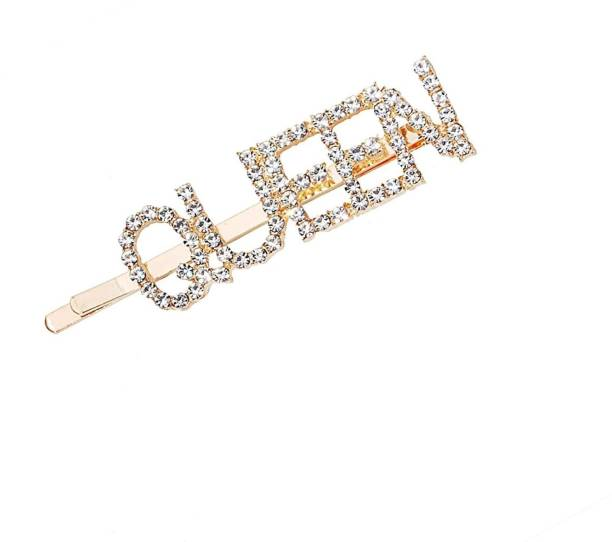 RosaStella Word Hair Clips for Women Crystal Letter Hair Pins for Girls Women Golden Color Crystal Trendy and Stylish Hair Pin Hair Clip Fancy Jewellery Hair pin Hair Accessories Hair Pin