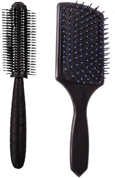 E-DUNIA Best Combo of Cushion Paddle Hair Brush and Round Hair Comb Brush with Soft Nylon Bristles for Women and Men
