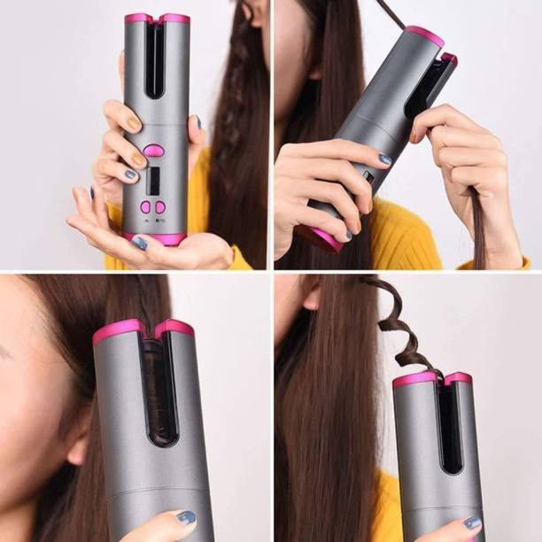 SMIC Cordless Auto Curling Iron, Wireless Electric Rotating Hair Curlers 5000mAh Rechargeable Battery Heat Isolating Chamber LCD Display 6 Kinds of Temperature Control & Timer Settings-multicolour Hair Curler