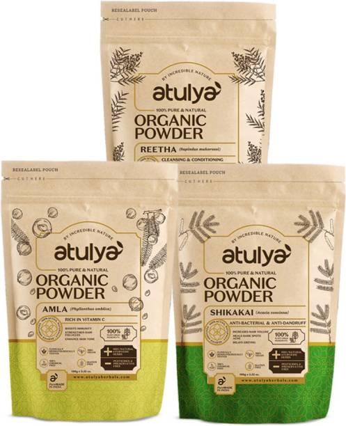 Atulya Amla + Reetha + Shikakai 100% pure & natural organic powder pack of 3