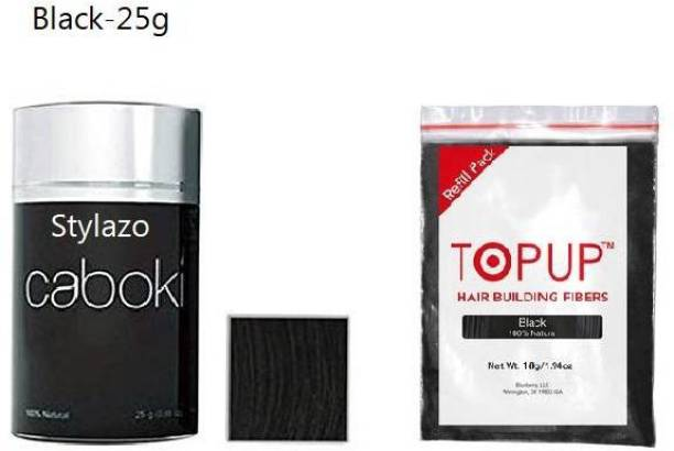 Stylazo Caboki Hair Building Fiber , Hair Volumizer Fiber Color/Natural Black Color (25 grams) with 10g Pouch (Black Color) Hair Loss concealer(25g) 02202223 Soft Hair Volumizer Powder