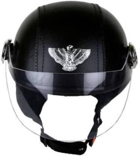 SDF leather CAP Motorbike Helmet (Black) Motorbike Helmet
