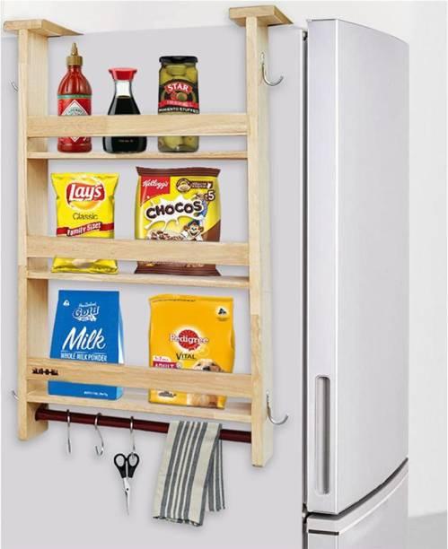 Solvd-in-box Extendio Multi-Layer Space Saving Fridge Storage Organiser Rack Shelf Kitchen Organiser Solid Wood Kitchen Cabinet