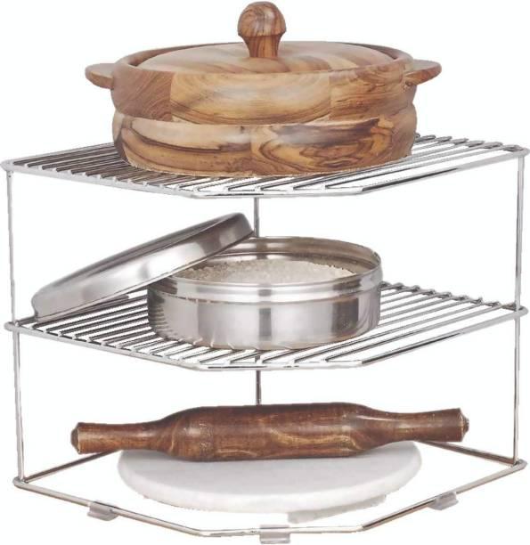 Nexus Lifestyle Stainless Steel Multipurpose Kitchen Corner Shelf Rack Stand/Chakla Belan Storage (30 * 30 * 22 cm) (Set of 1) Utensil Kitchen Rack