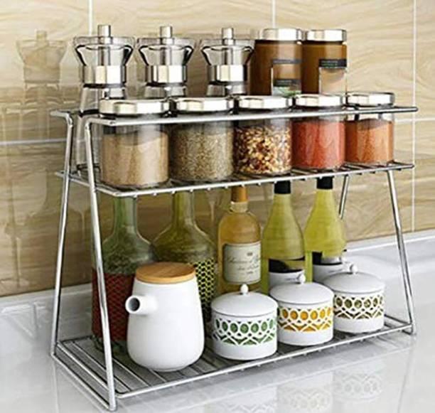 Maxtan Stainless Steel Spice 2-Tier Trolley Container Organizer Organiser/Basket for Boxes Utensils Dishes Plates for Home (Multipurpose Kitchen Storage Shelf Shelves Holder Stand Rack) Utensil Kitchen Rack