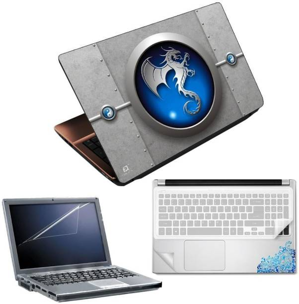 FineArts Dragon Metal 4 in 1 Laptop Skin Pack with Screen Guard, Key Protector and Palmrest Skin Combo Set