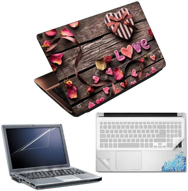 FineArts Live Wooden 4 in 1 Laptop Skin Pack with Screen Guard, Key Protector and Palmrest Skin Combo Set